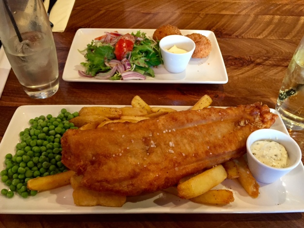 Gigantic portion of perfectly fried fish and chips